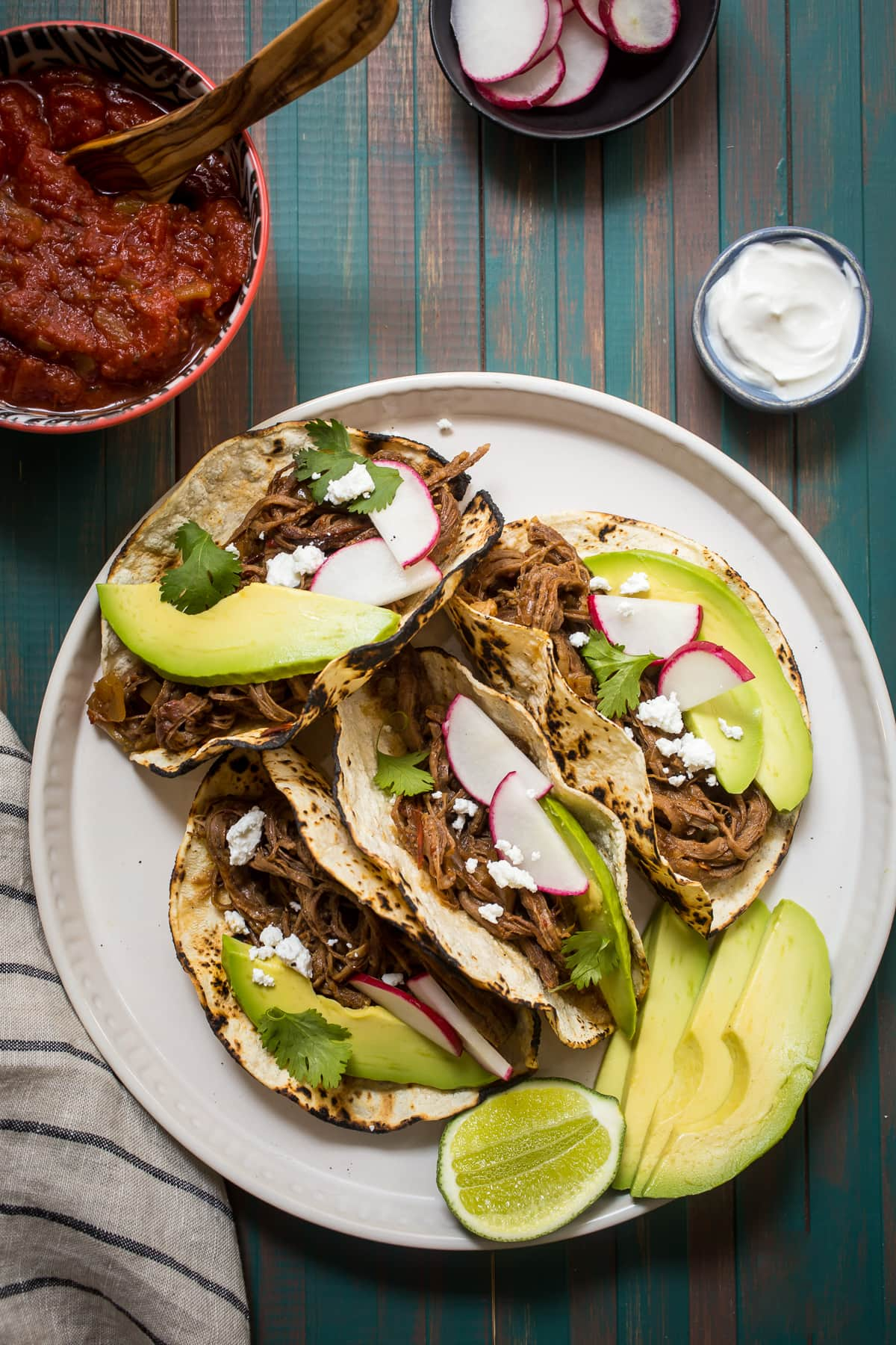 Spicy Shredded Beef Tacos | Girl in the Little Red Kitchen