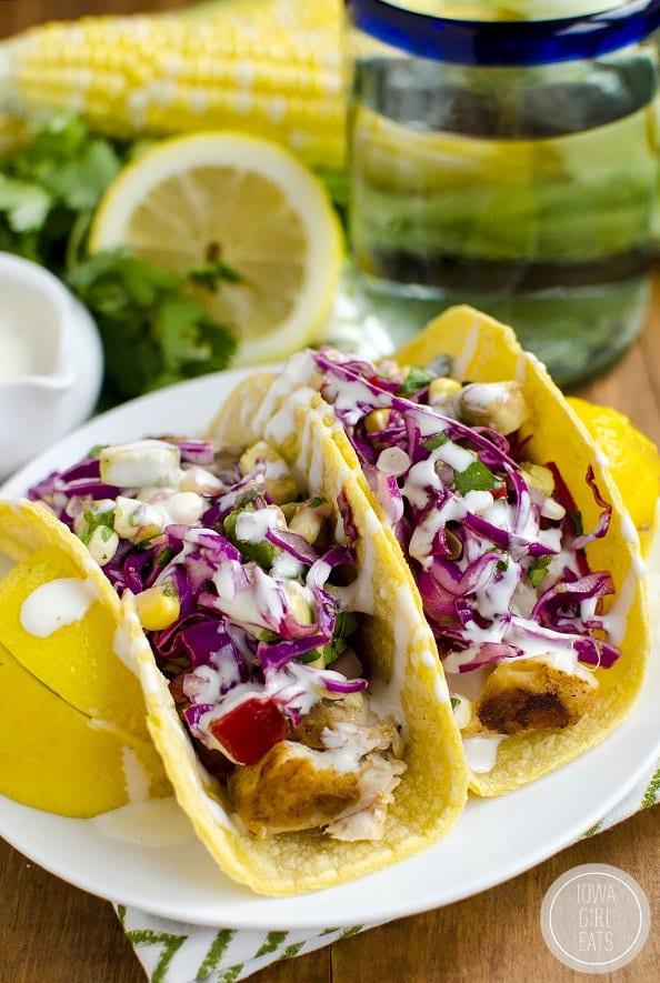 Fish Tacos with Avocado Sweet Corn Slaw | Iowa Girl Eats