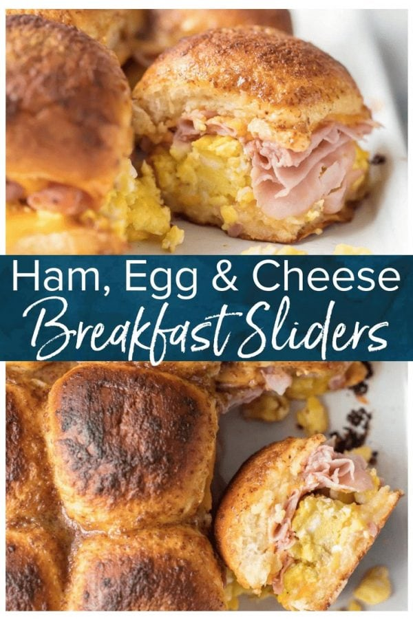 These CHEESY BAKED BREAKFAST SLIDERS are so easy and perfect for feeding a crowd! Baked on Hawaiian rolls with layers of ham, egg, and cheese and topped with a brown sugar dijon butter sauce! TOO GOOD!