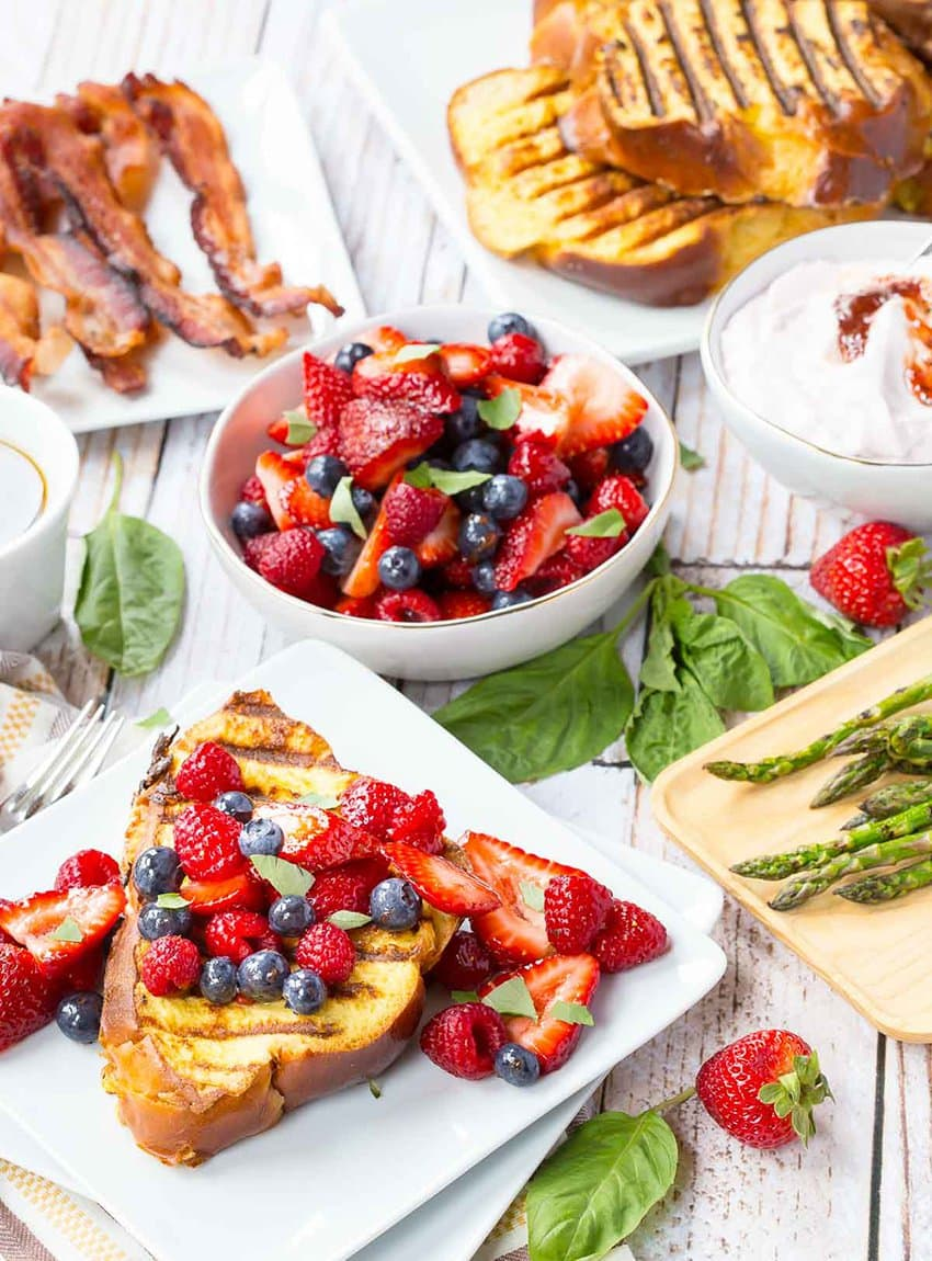 Grilled French Toast Stuffed with Strawberry Basil Cream Cheese | Rachel Cooks