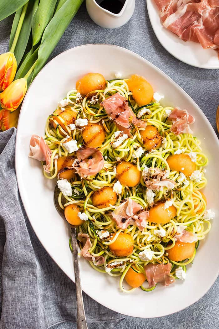 Prosciutto and Melon Zucchini Noodle Salad   Girl in the Little Red Kitchen