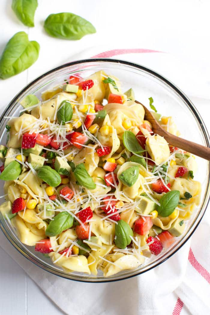 Strawberry, Corn, and Avocado Tortellini Salad   Spoonful of Flavor