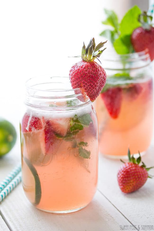 Strawberry Rhubarb Rose Sangria | Sweet Peas and Saffron