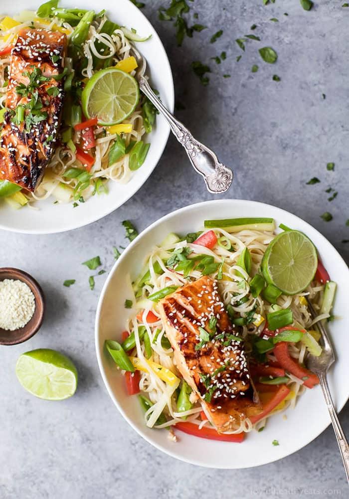 Teriyaki Salmon with Asian Noodle Salad   Joyful Healthy Eats