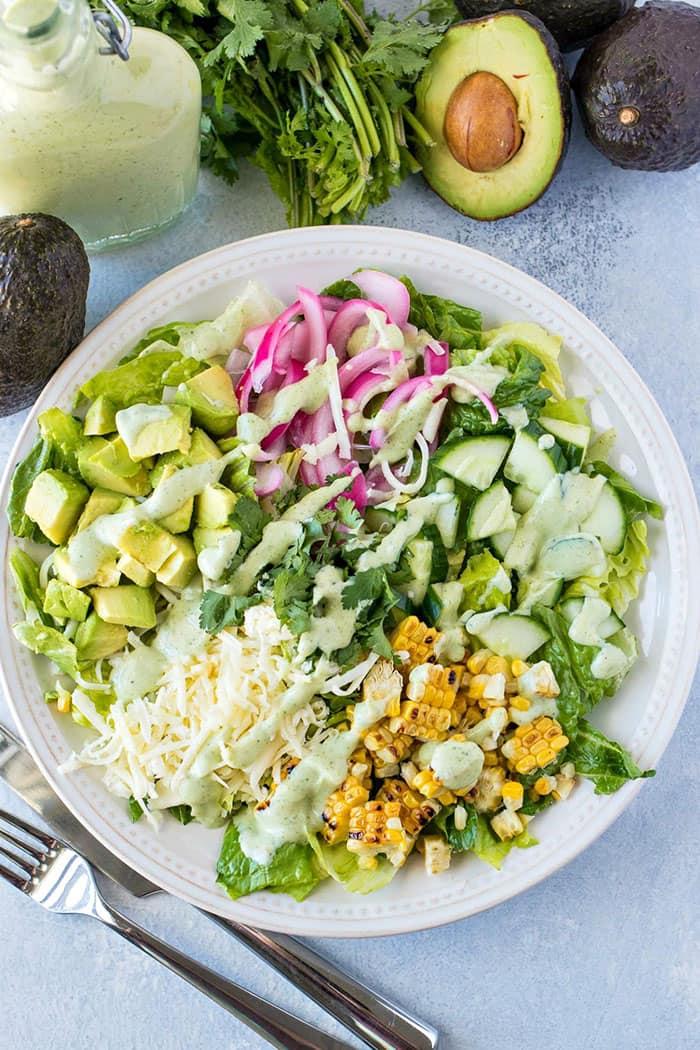 Avocado and Charred Corn Salad with Cilantro Ranch   Certified Pastry Aficionado