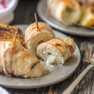 Cheesy Pancetta Wrapped Chicken Rollups
