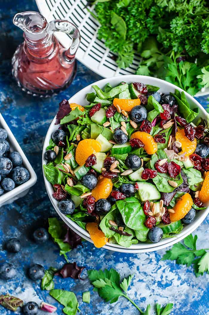 Cranberry Blueberry Spring Mix Salad with Blueberry Balsamic Dressing   Peas and Crayons