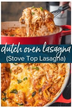 This Dutch Oven Lasagna recipe, or Stove Top Lasagna, will blow your mind! You'll never make a fully traditional lasagna recipe again after making this easy stove-top version