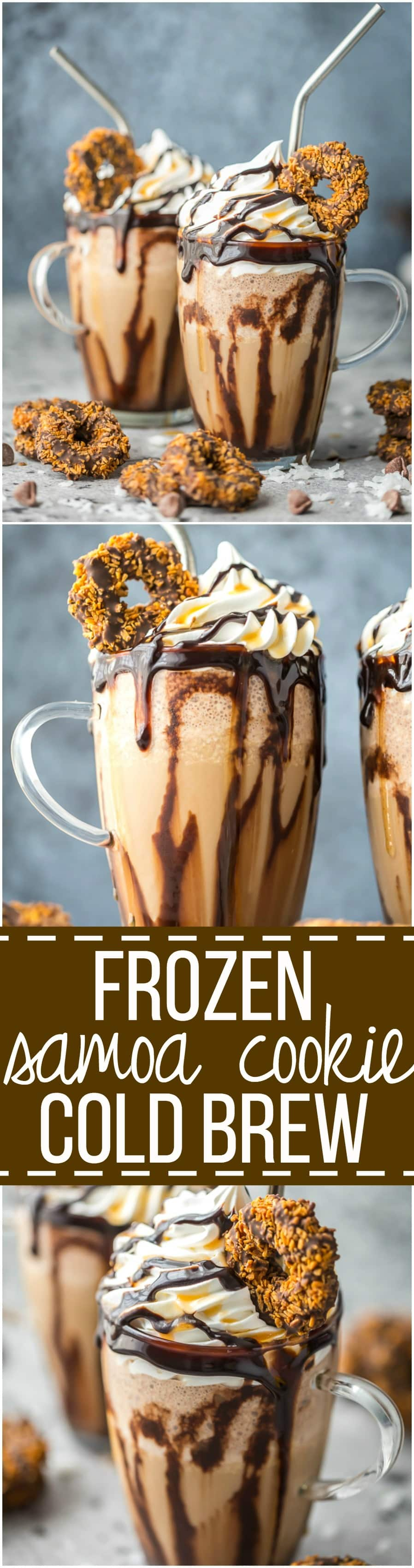 This FROZEN SAMOA COOKIE COLD BREW COFFEE is the frozen coffee you need to get through ANY day. Loaded with coconut, chocolate, caramel, and cold brew coffee. The ultimate!