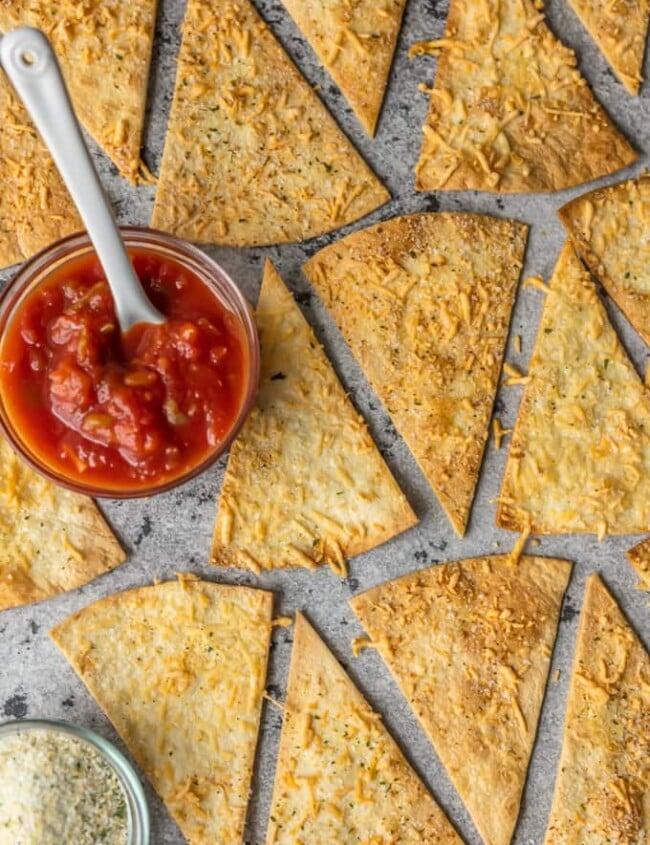 Homemade Tortilla Chips with Garlic Parmesan on a pan