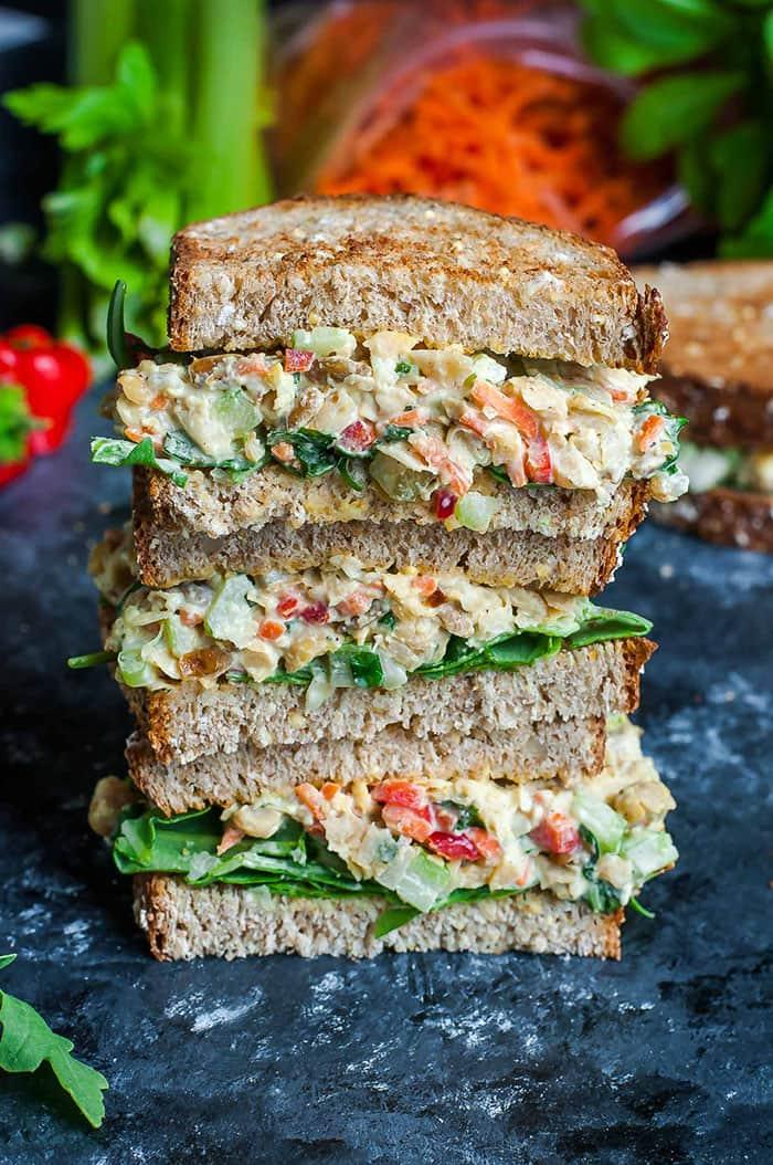 Garden Veggie Chickpea Salad Sandwich | Peas and Crayons