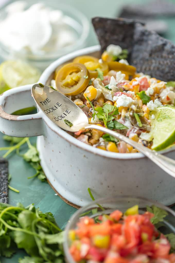 Corn salsa recipe with a serving spoon