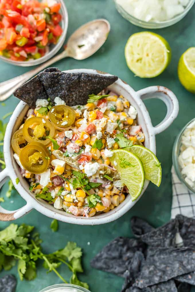 MEXICAN STREET CORN SALSA with blue corn chips