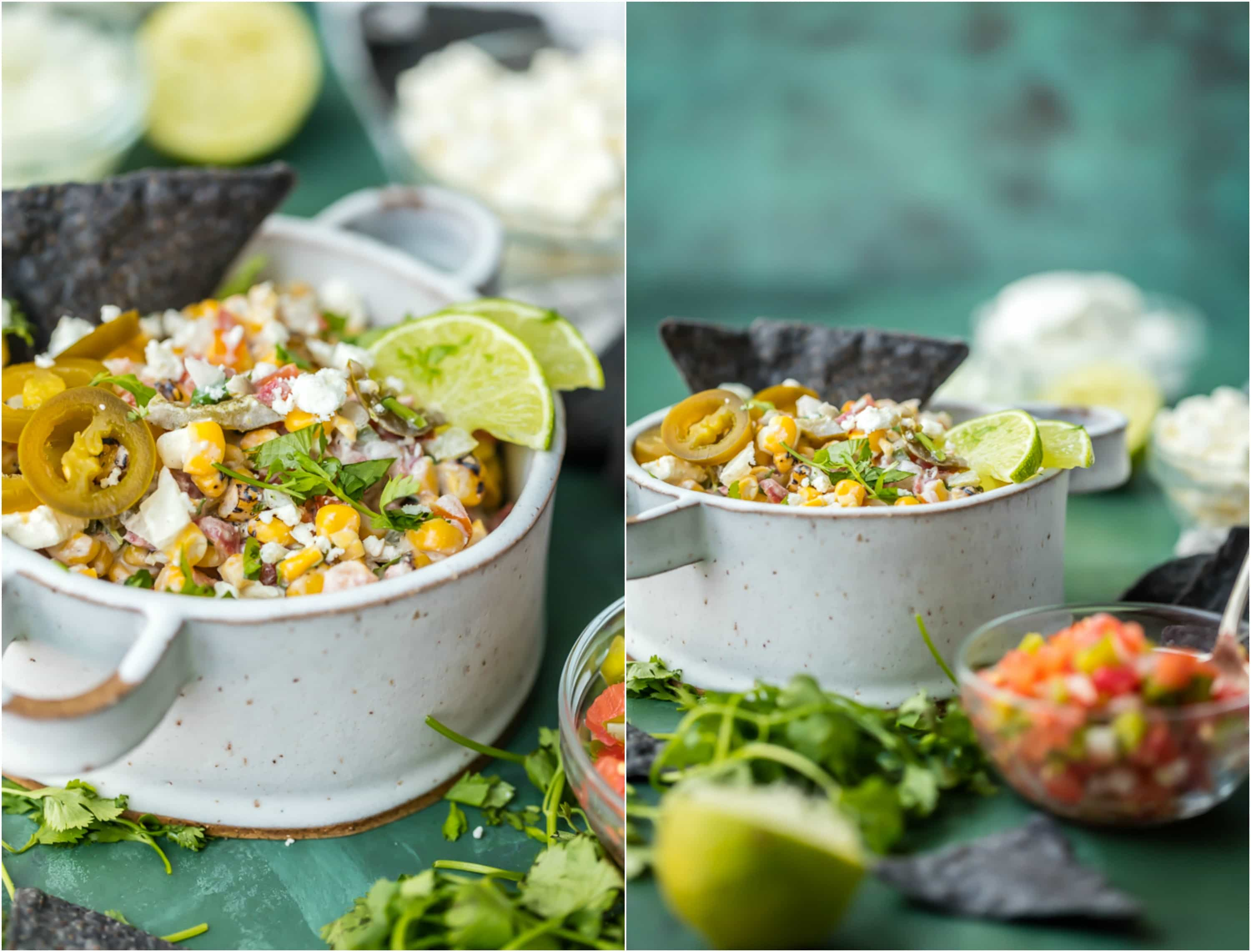 MEXICAN STREET CORN SALSA in white bowls