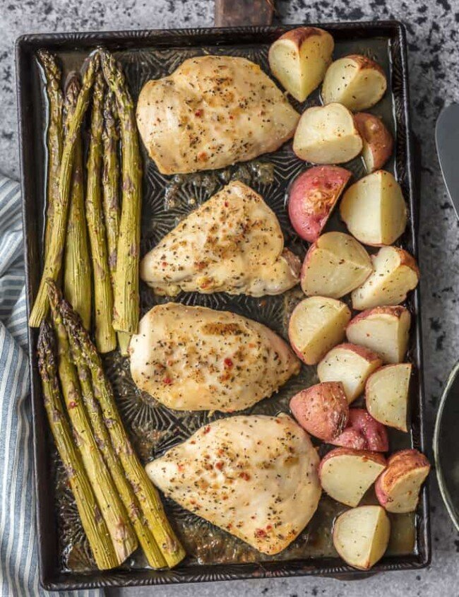 ONE PAN CHICKEN AND VEGGIES is the ultimate weeknight meal. It's an easy go-to when you need something delicious and simple. The Honey Garlic Chicken with asparagus and potatoes is a full, well-balanced meal all in one pan. And bonus, there's only one sheet pan to clean!
