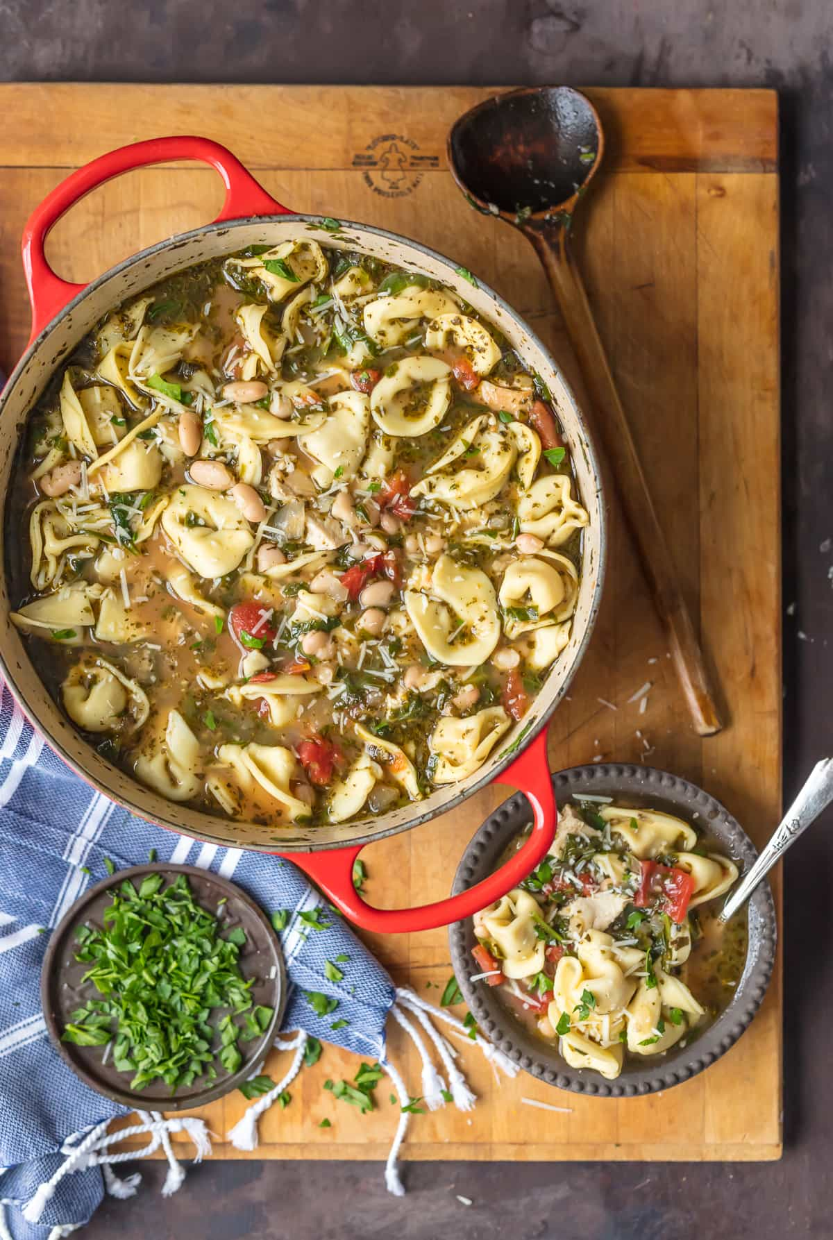 This PESTO CHICKEN TORTELLINI SOUP is the ultimate healthy comfort food. All the flavor and none of the stress. Best tortellini soup ever!