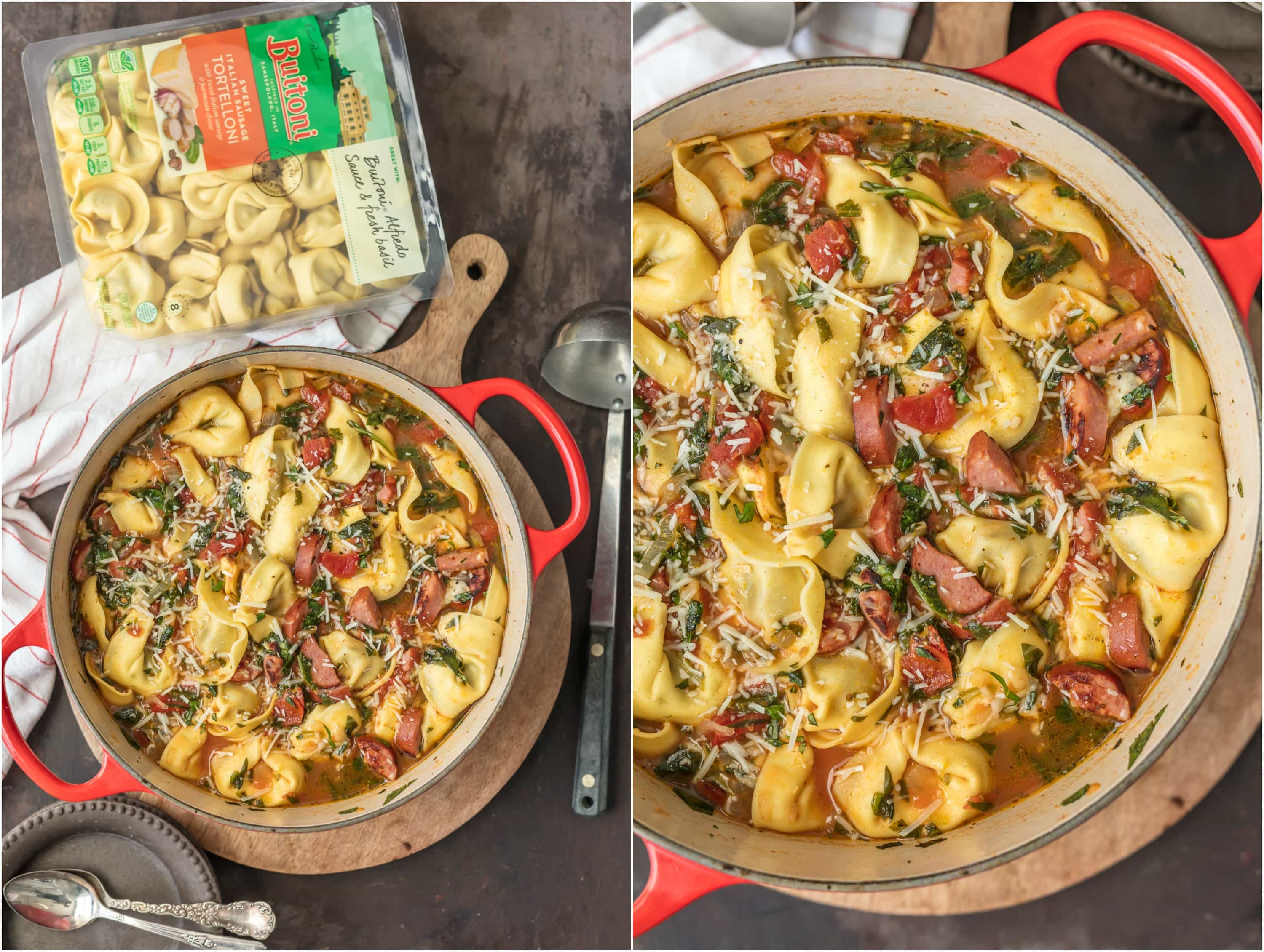 This SWEET ITALIAN SAUSAGE TORTELLINI SOUP is such an easy and delicious soup to throw together on busy days. Loaded with flavor while being kind to your waistline. I love it!