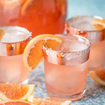 This Grapefruit Vodka Sangria is the perfect salty dog cocktail in the form of refreshing sangria! Serve this grapefruit cocktail with a salted rim all summer long .
