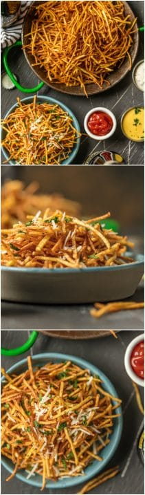 These Skinny Shoestring Fries are the perfect side for sandwiches to bbq to so much more! We love these fun potato fries that are super thin and deep fried. So delicious and fun.