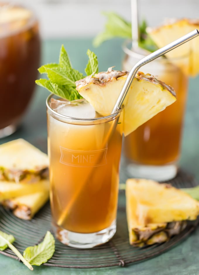 Glass of Iced Pineapple Tea with a pineapple slice