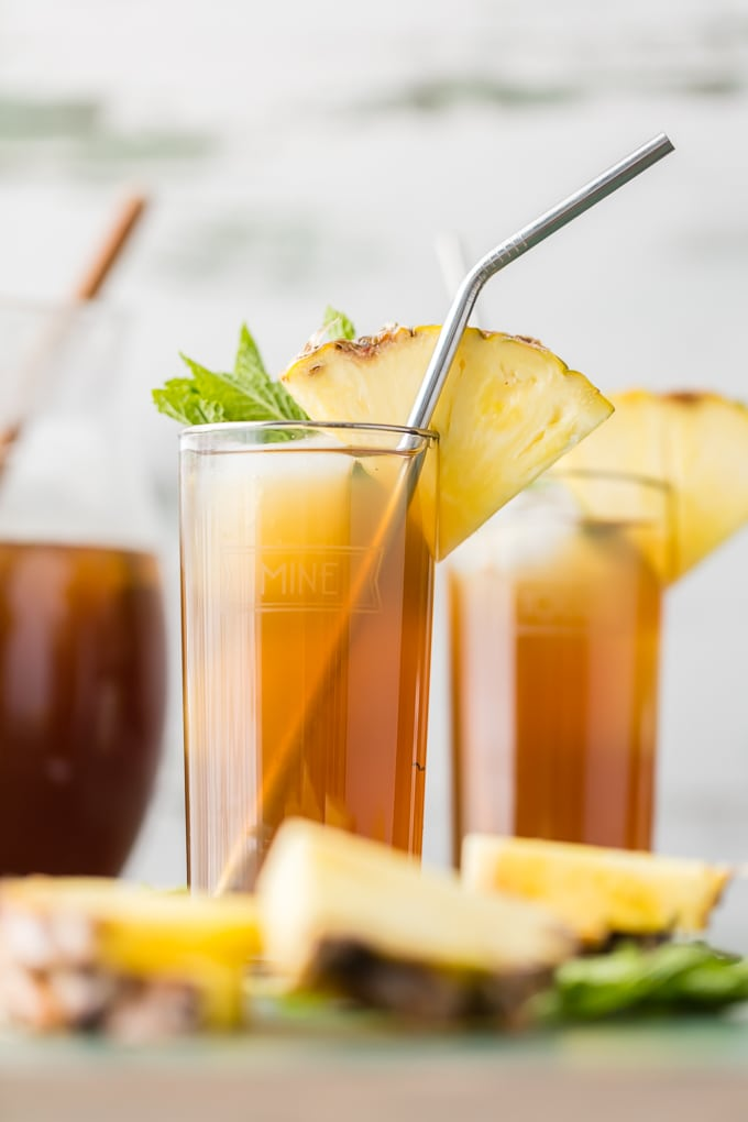 Skinny Pineapple Tea, garnished with pineapple slices