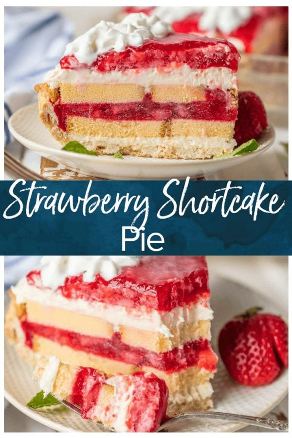 This STRAWBERRY SHORTCAKE PIE is the ultimate Summer sweet treat! Layers of strawberries, cream, and pound cake make for an easy strawberry shortcake recipe that is sure to please.