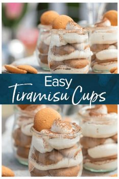 These Easy Tiramisu Cups are made with a secret ingredient, vanilla wafers! This easy tiramisu recipe is perfect for summer parties & BBQs. Easy to make, easy to serve, and easy to eat
