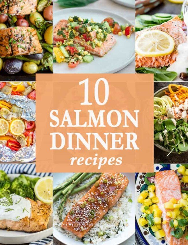 These 10 Salmon Dinners just cannot be beat! So much flavor cooked up in 10 easy simple recipes. These healthy spins on classic recipes will knock your socks off.