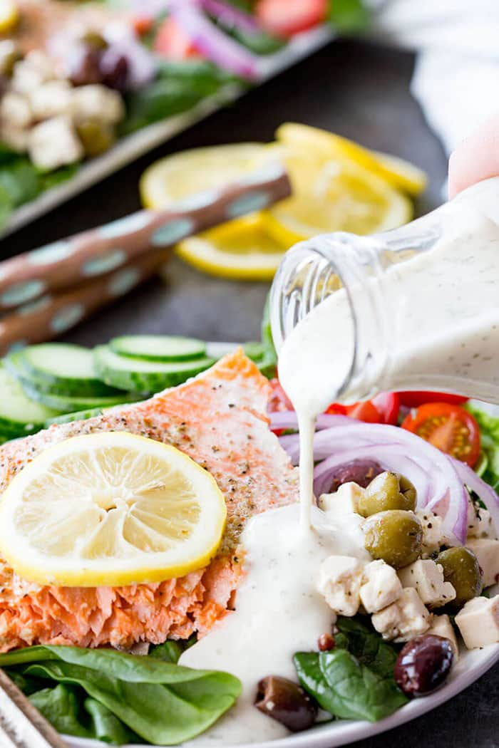 Easy Greek Salmon Salad | Eazy Peazy Mealz