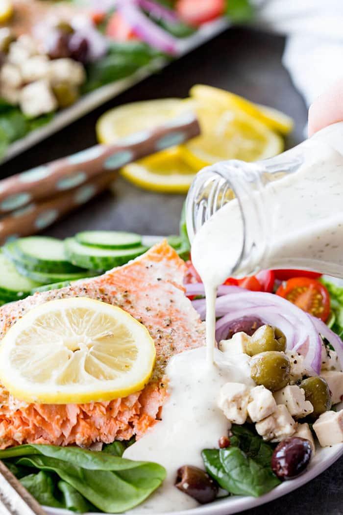 Easy Greek Salmon Salad | Eazy Peazy Mealz