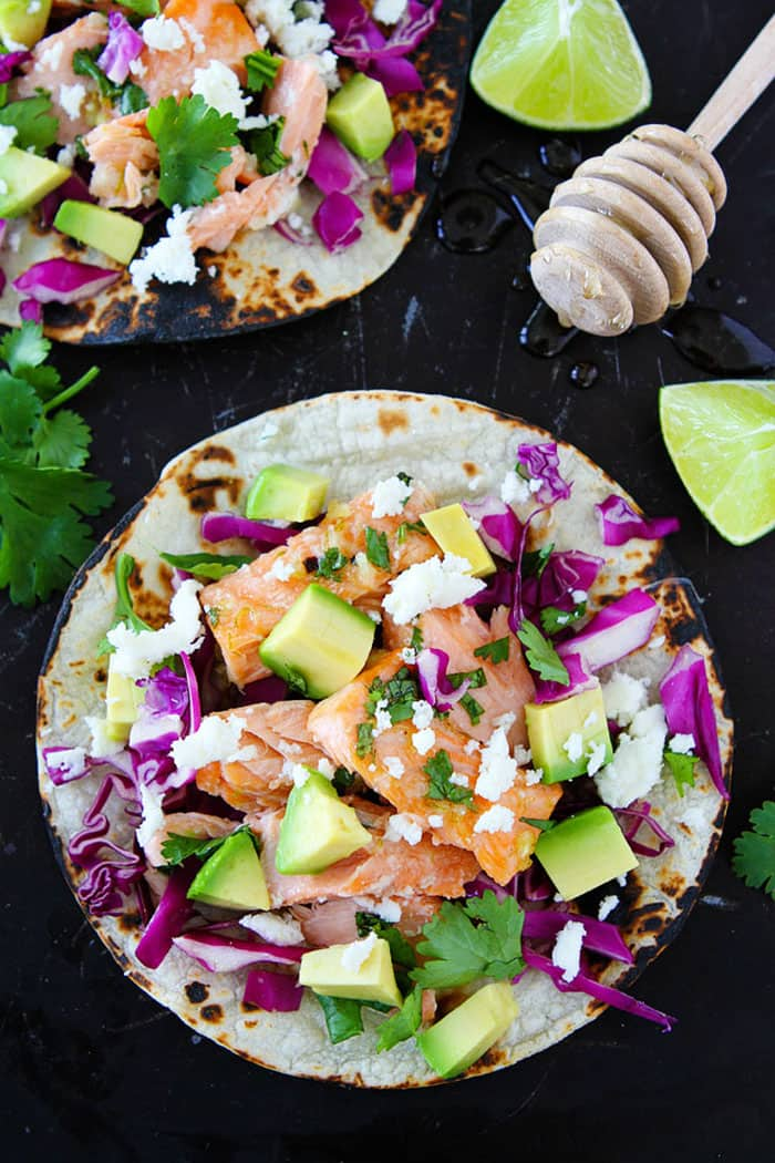 Honey Lime Salmon Tacos | Two Peas and Their Pod