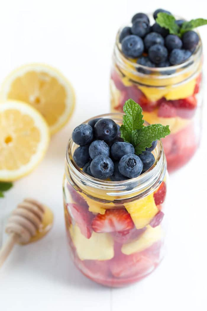 Masson Jar Fruit Salad with Strawberry Mint Dressing | Spoonful of Flavor