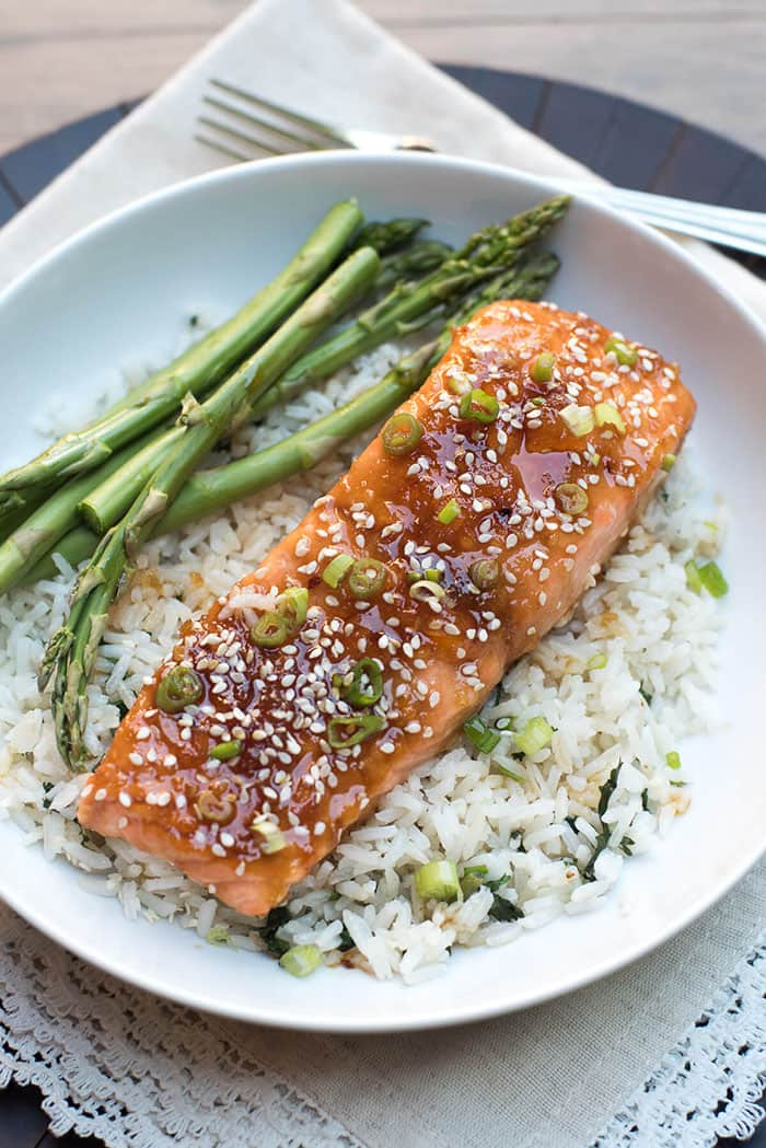 Orange Sesame Ginger Glazed Salmon | From Valerie's Kitchen
