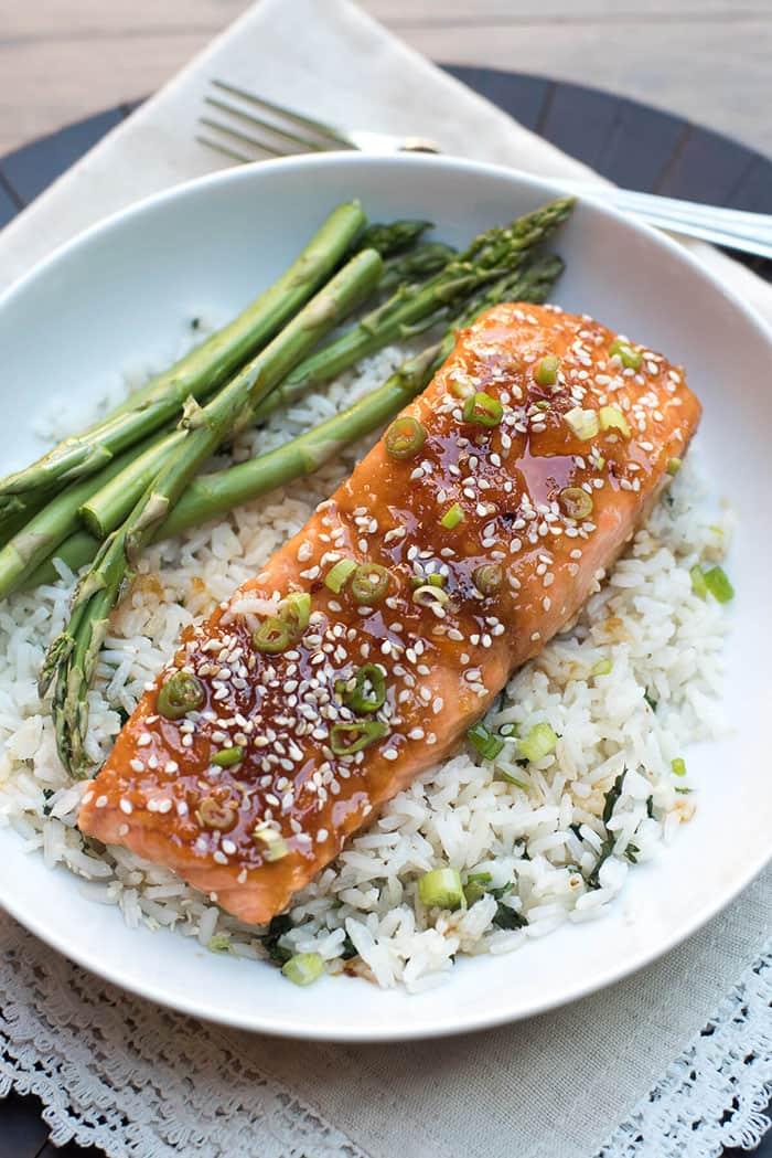 Orange Sesame Ginger Glazed Salmon | From Valerie's Kitchen