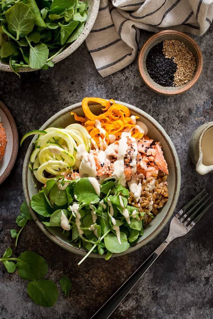 Salmon and Watercress Grain Bowl with Sweet Potato and Zucchini Noodles | Girl in the Little Red Kitchen