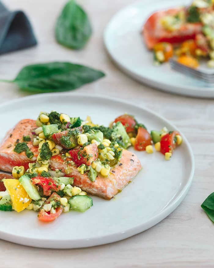 Seared Salmon with Tomato Corn Salsa | Running to the Kitchen