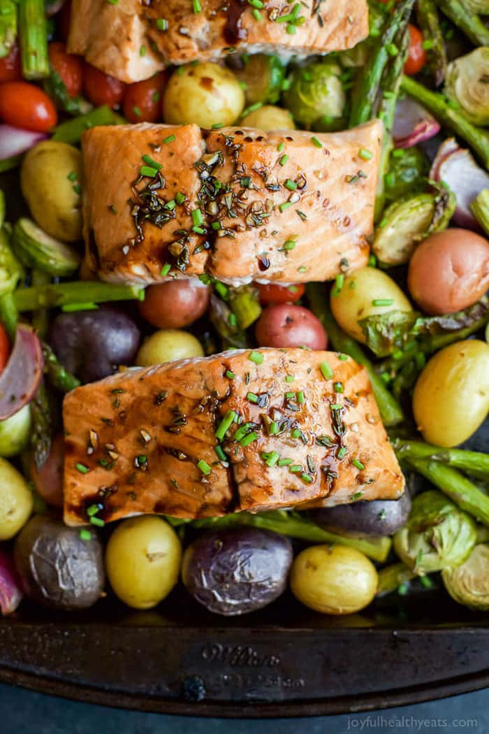 Sheet Pan Balsamic Salmon with Asparagus & Brussels Sprouts | Joyful Healthy Eats