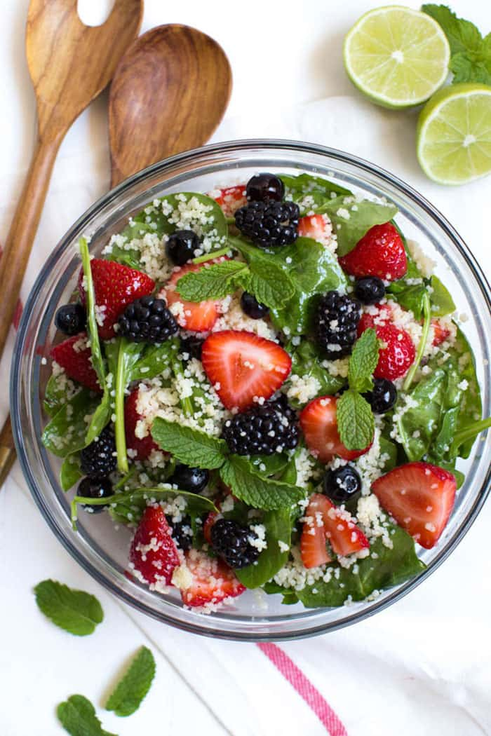 Triple Berry Couscous Salad with Honey Lime Mint Dressing | Spoonful of Flavor