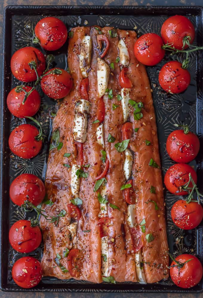 Stuffed salmon recipe stuffed with tomato and mozzarella
