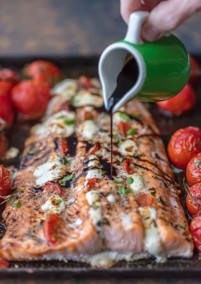 Baked salmon drizzled with balsamic reduction
