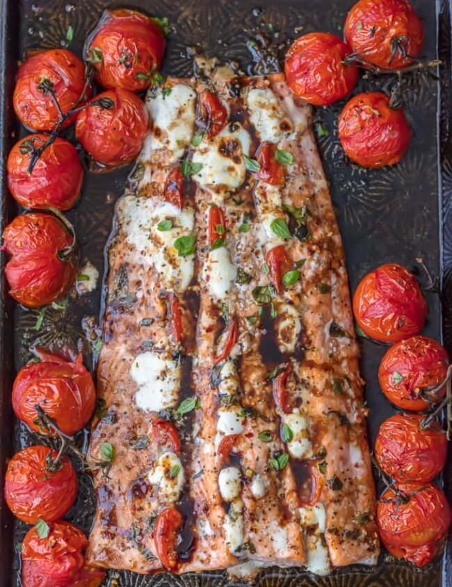 caprese stuffed salmon