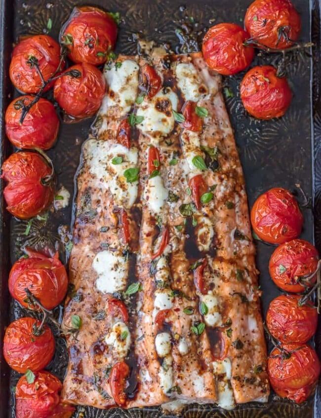 caprese stuffed salmon