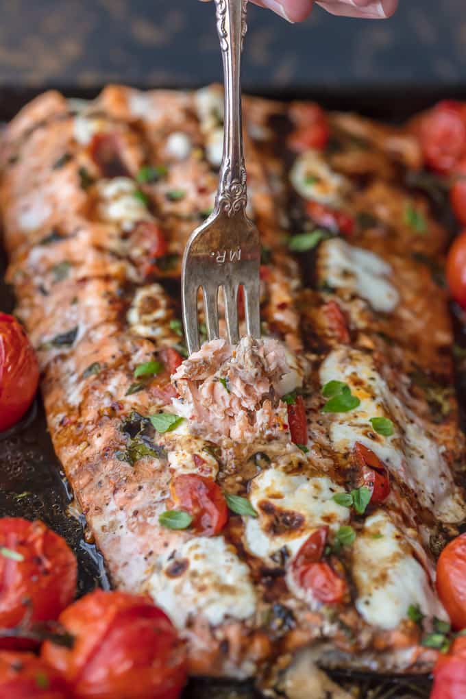 Baked salmon one pan meal with roasted tomatoes