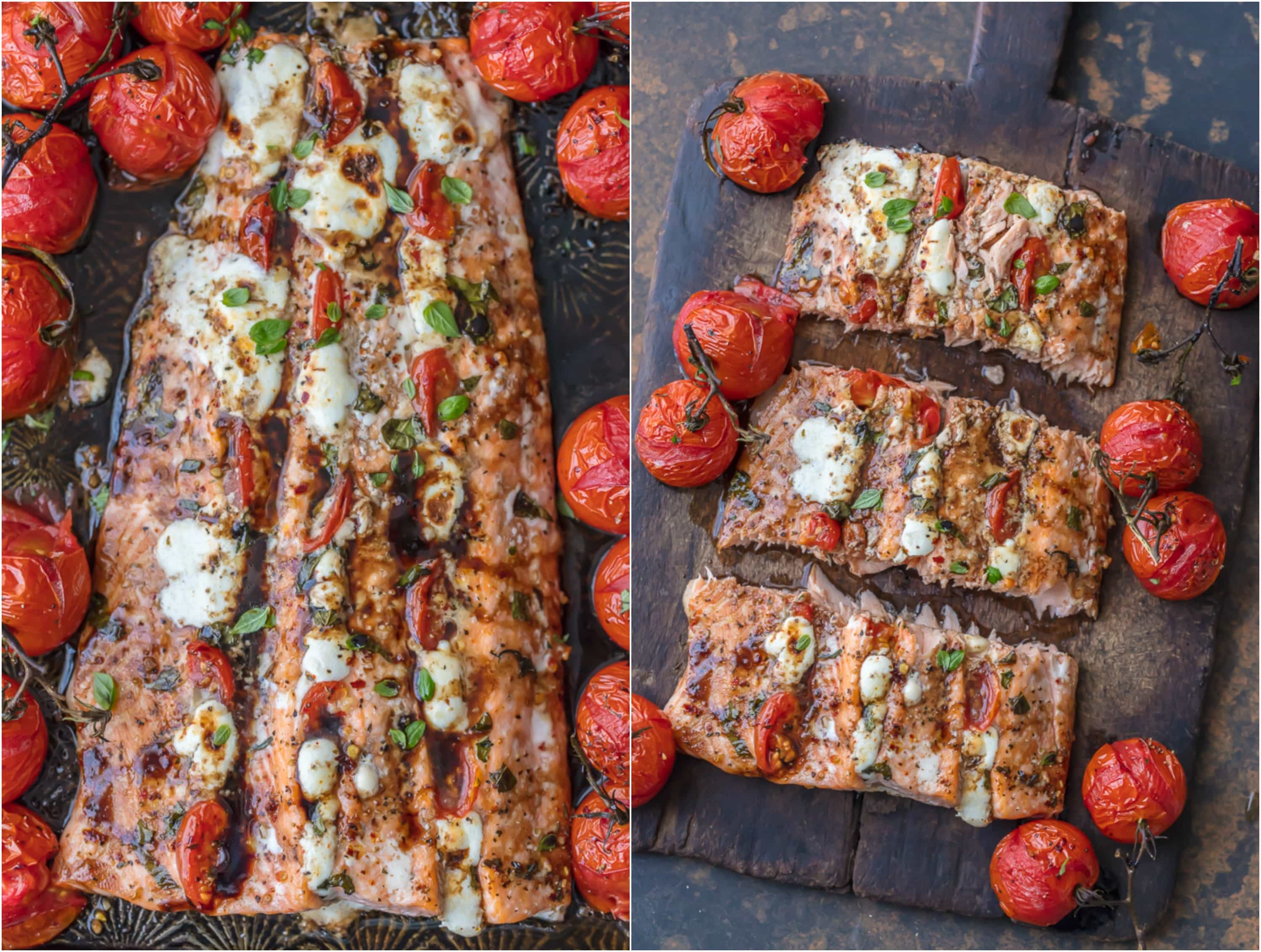 ONE PAN MEAL This CAPRESE STUFFED SALMON with BALSAMIC ROASTED TOMATOES will be your new favorite sheet pan dinner! This easy one dish salmon meal is loaded with flavor and oh so easy. Sure to please!