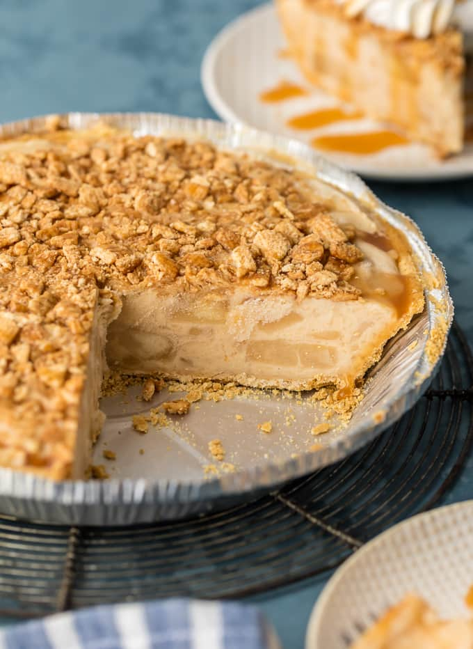 CARAMEL APPLE FREEZER PIE in a pie dish