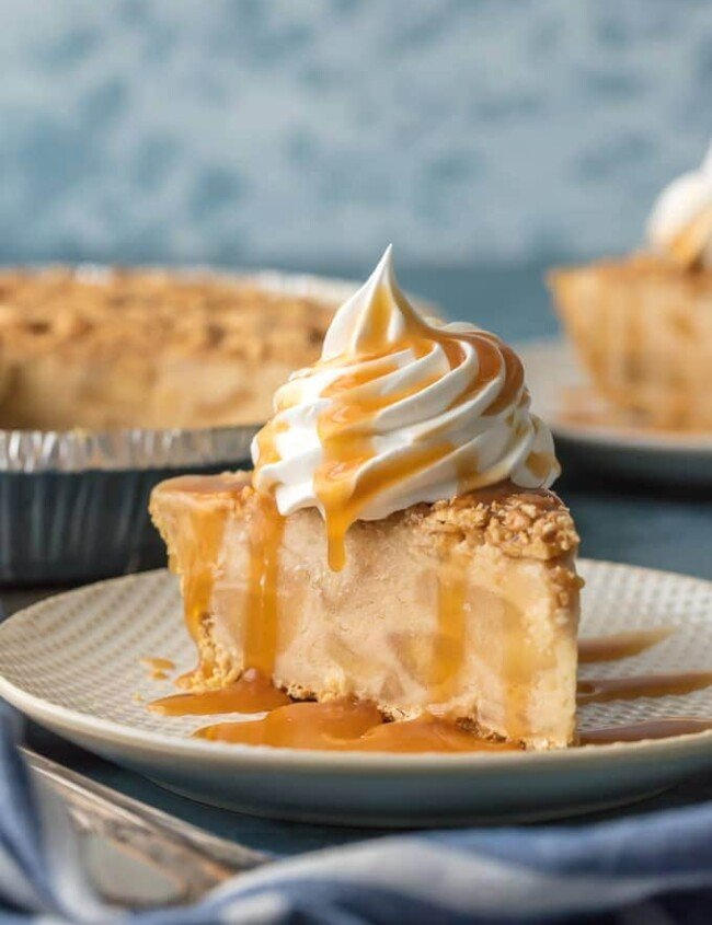 slice of caramel apple freezer pie on a plate
