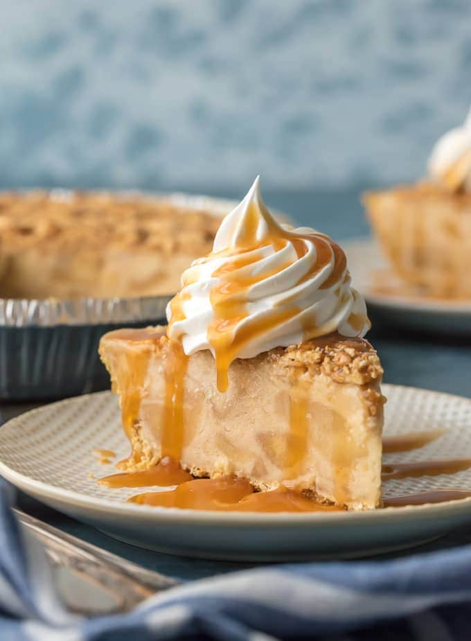 COOKBOOK PHOTOGRAPHY! CARAMEL APPLE FREEZER PIE is the ultimate easy frozen dessert! Made with caramel ice cream, apple cider, and apple pie filling; it's sure to please and whipped up in minutes. YUM!