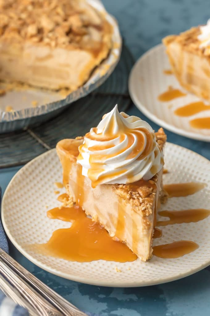 slice of pie with tons of caramel drizzle