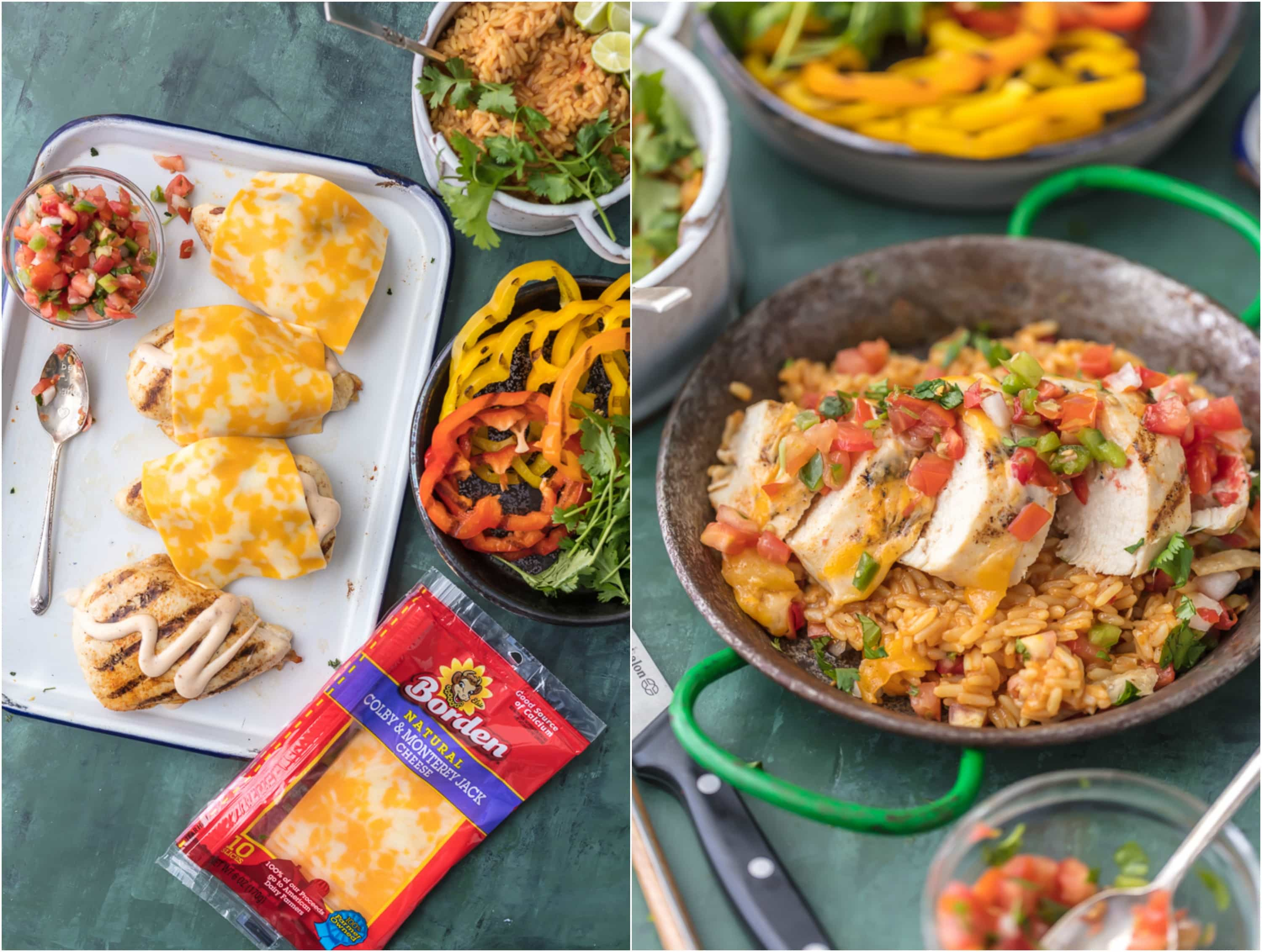 FIESTA LIME CHICKEN (Applebee's Copycat Recipe) is our favorite easy grilled Summer meal! This Lime Chicken is served on a bed of Mexican rice and topped with lime ranch, pico de gallo, and tortilla strips. I order this Fiesta Lime Chicken Recipe at Applebee's every single time, and now you can make it at home! It's even better homemade, trust me.