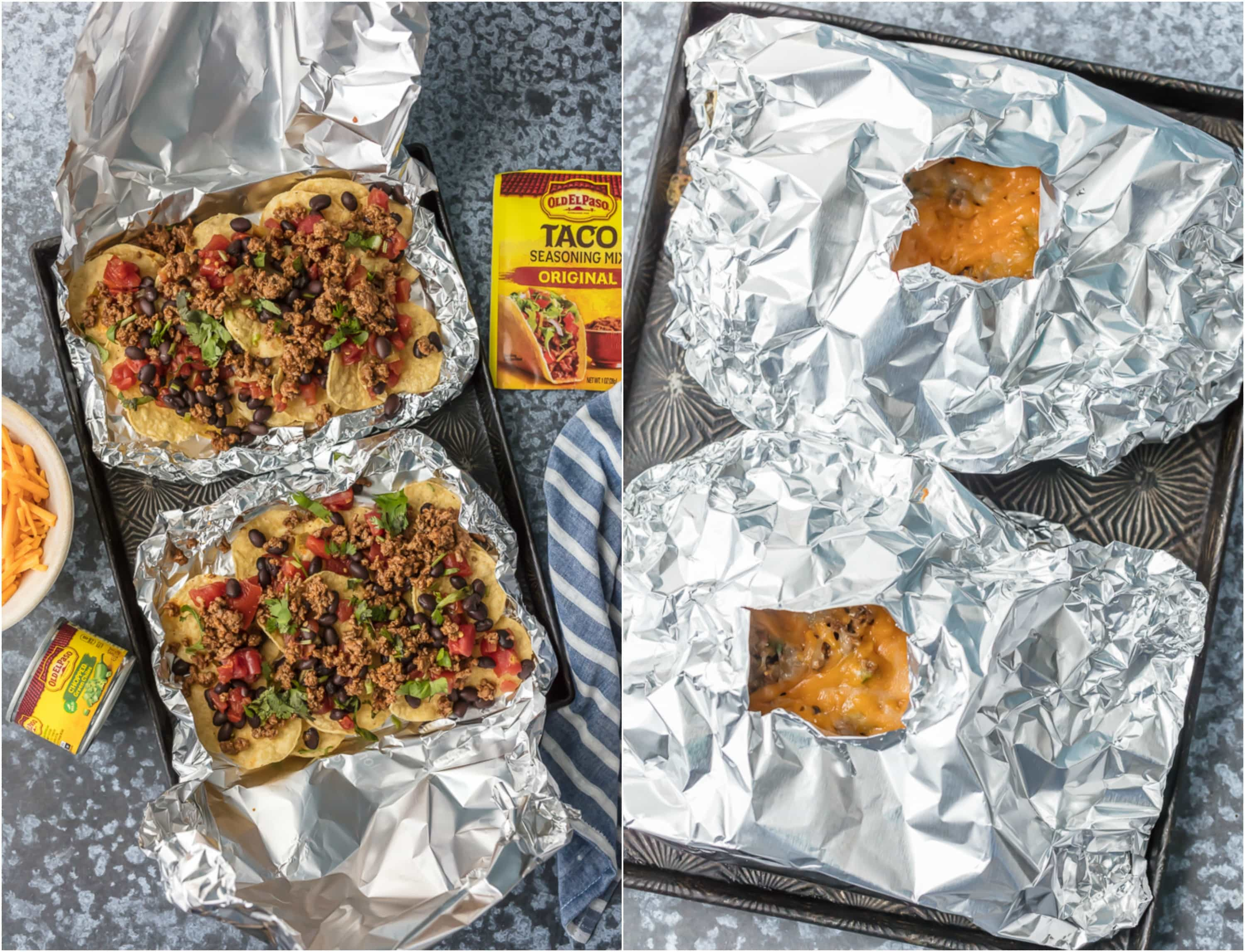 We love throwing these FOIL PACKET NACHOS on the grill any time of year! Loaded with beef, tomatoes, green chiles (and more), and covered in melty cheese. Obsessed.